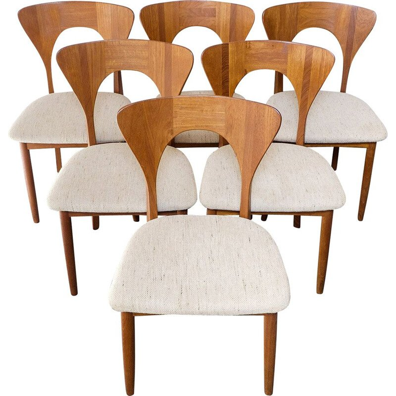 Vintage Set of 6 Dining Chairs Model Peter in Teak by Niels Koefoed for Koefoeds Hornsled, 1960s