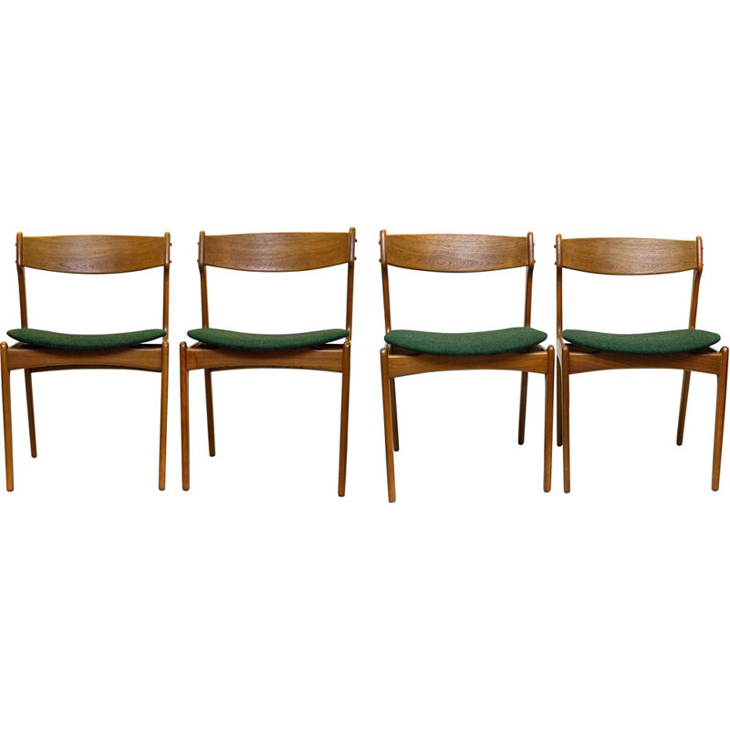 Vintage Set of 4 Dining Chairs, Model 49 in Teak by Erik Buch, 1960