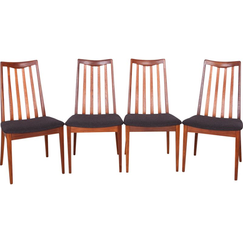 Set of 4 vintage chairs for G-Plan in black fabric and teak 1960s