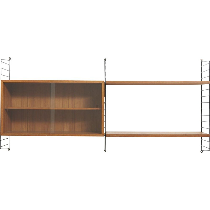 Vintage shelves wall system by Nisse Strinning in teakwood 1950s