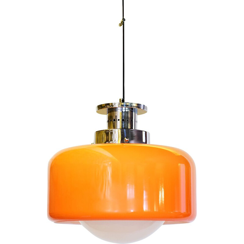 Vintage hanging lamp in glass and orange plastic 1970s