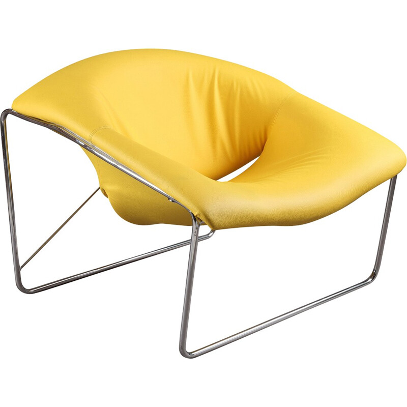 Airborne Cubique low chair in leatherette, Olivier MOURGUE - 1960s