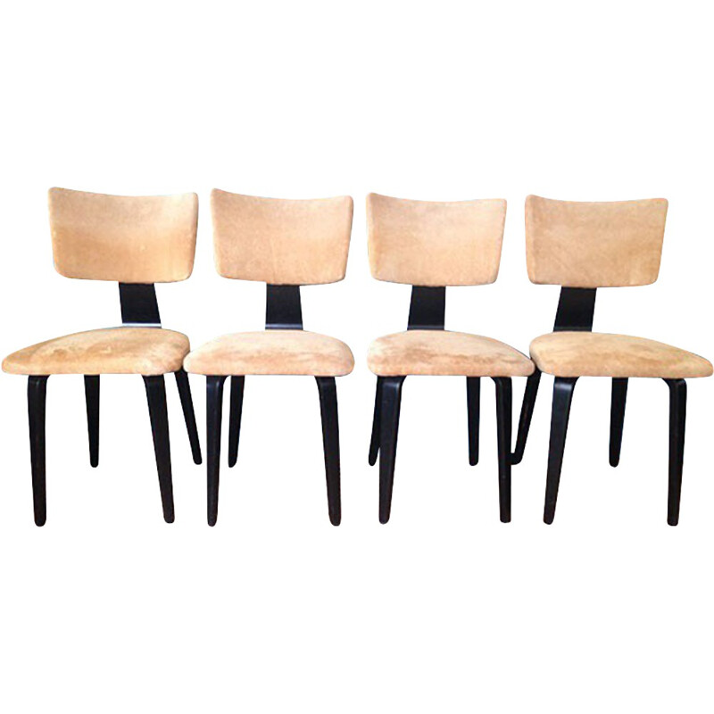 Set of 4 vintage chairs in lacquered wood and nubuck leather, Cor ALONS - 1950s