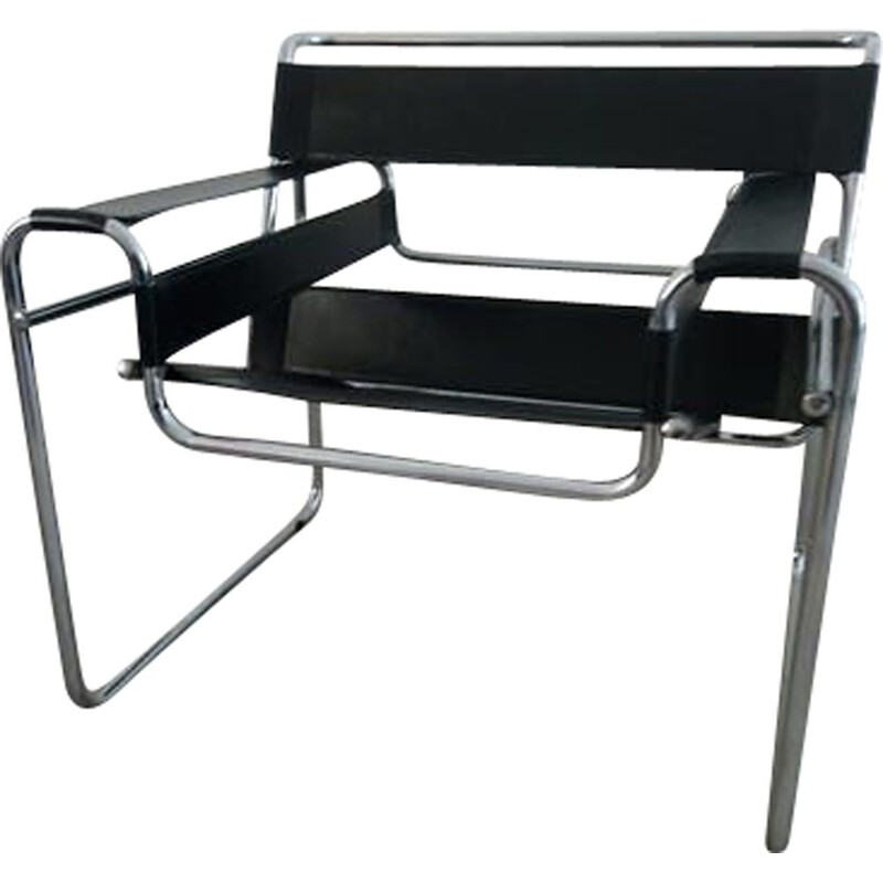 Vintage Wassily B3 chair in black leather and chrome steel by Marcel Breuer, Italy, 1980