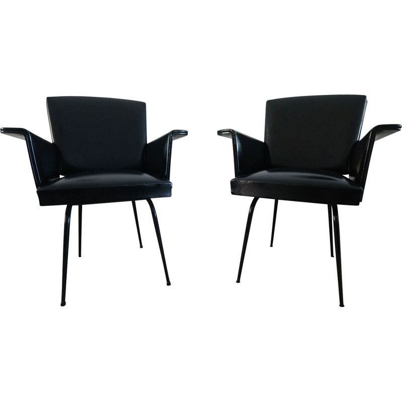 Pair of vintage armchairs in black leatherette, France, 1960