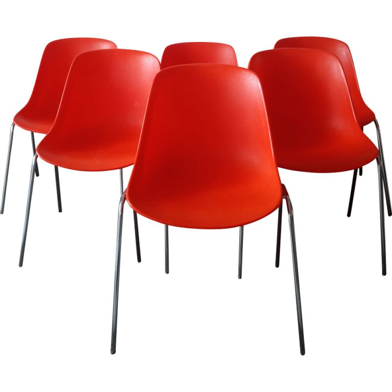 Set of 6 vintage red chairs by Eero Aarnio for ASKO