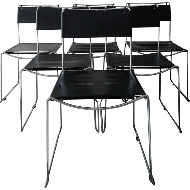 Suite of 6 vintage chairs in black leather, Italy