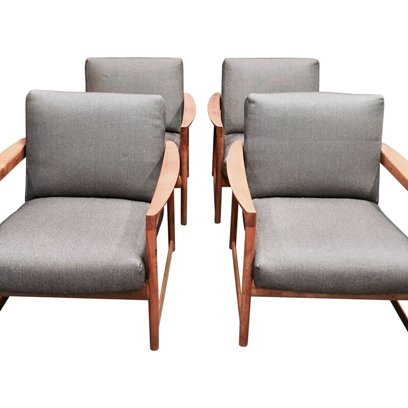 Set of 4 grey Scandinavian teak armchairs