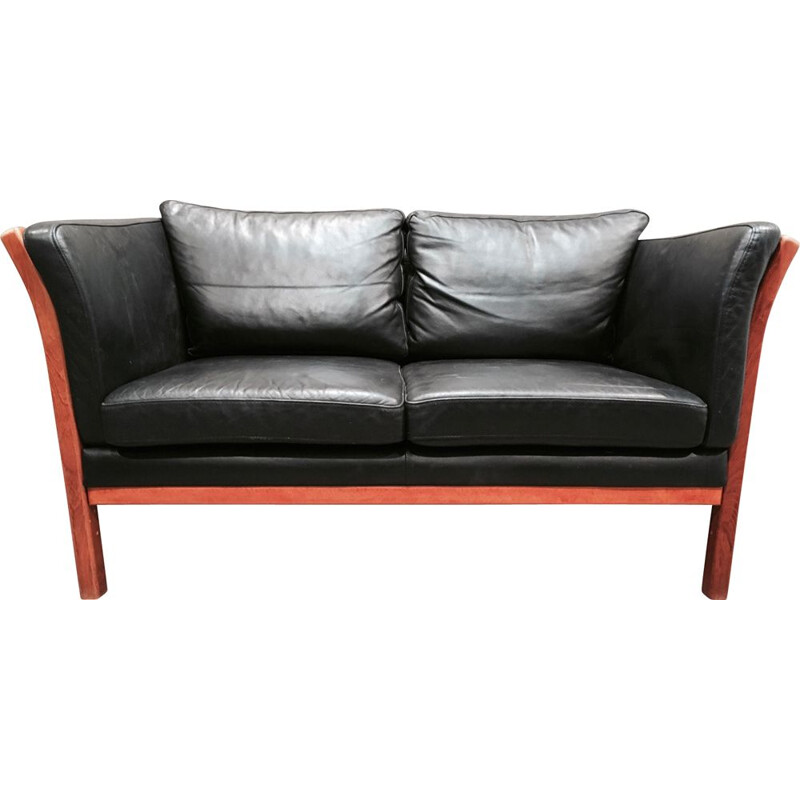 Vintage Scandinavian sofa in black leather