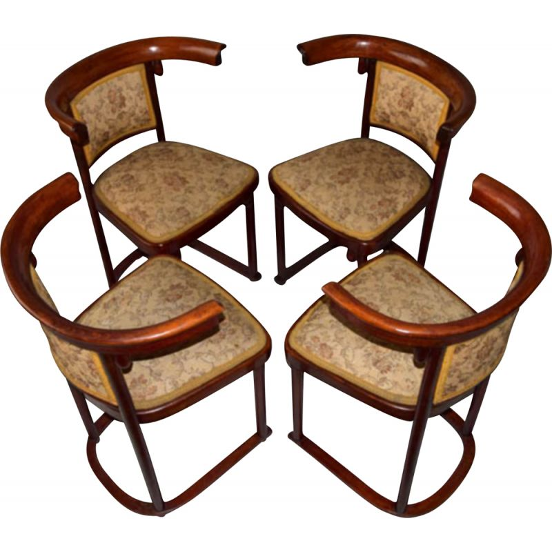 Set of 4 Secession dining chairs by Josef Hoffmann for Thonet