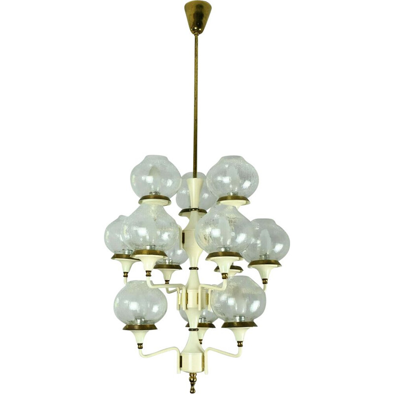 German vintage chandelier in glass and brass