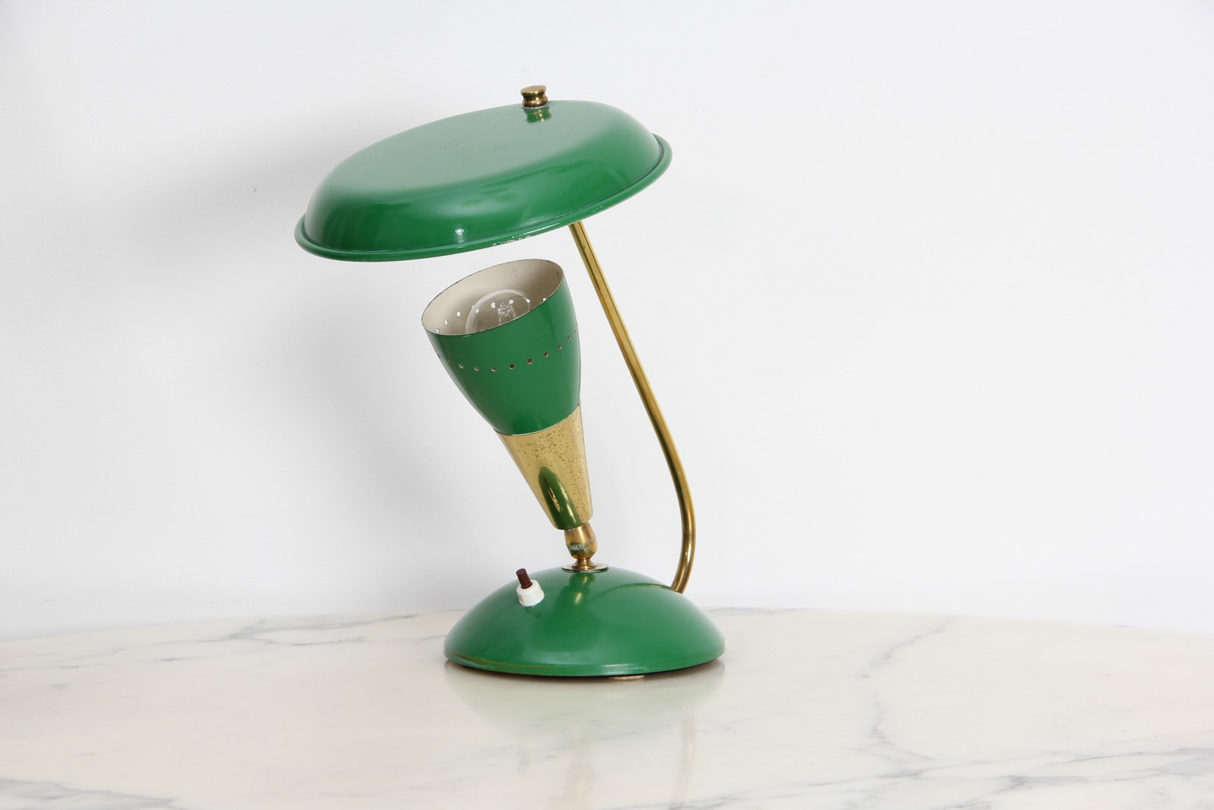 Vintage Green Desk Lamp In Brasetal 1950s Previous Next