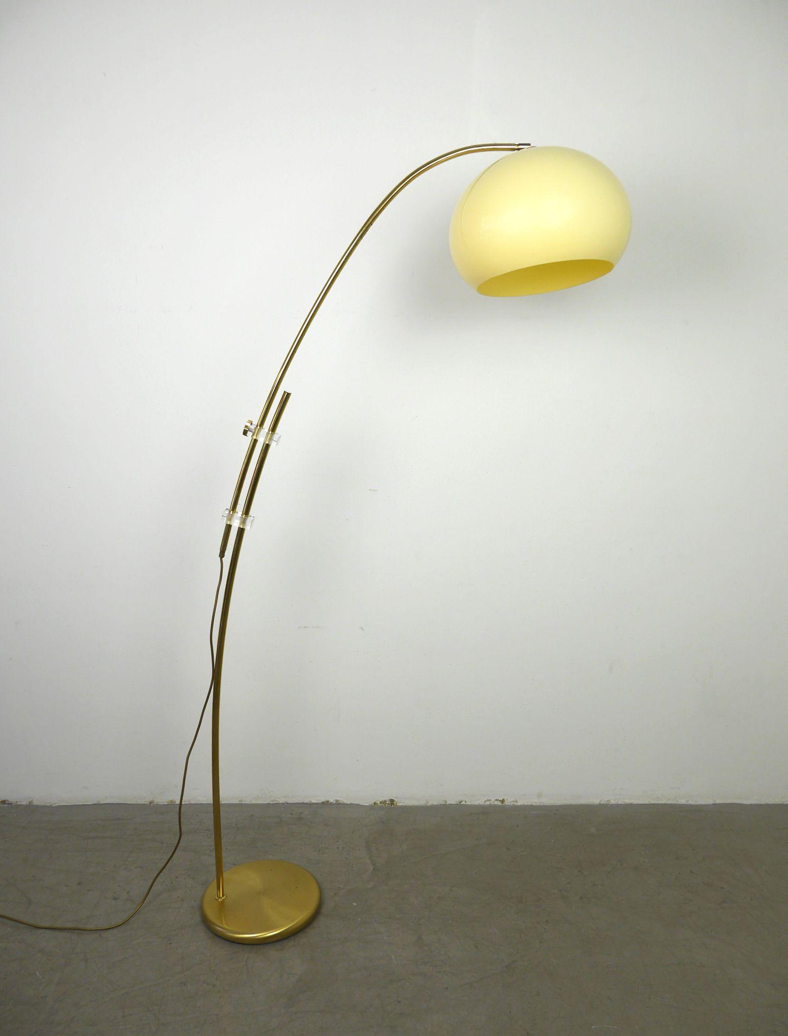 Vintage adjustable brass arc floor lamp, Germany, 1970s ...