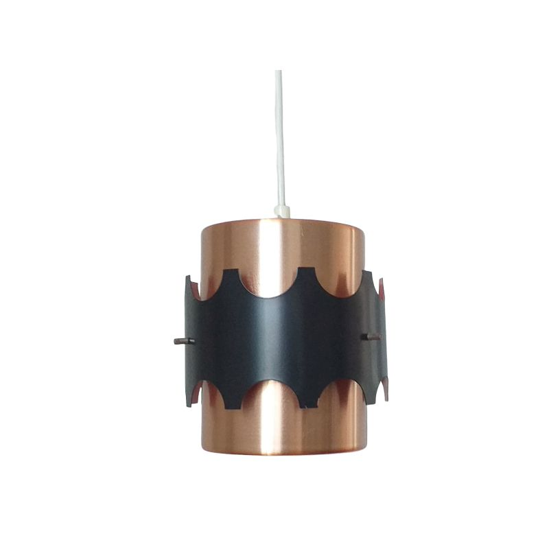 Vintage pendant light in copper and black by Jo Hammerborg, Denmark, 1970s