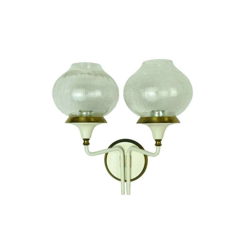 Pair of vintage wall lamps in brass and glass 1960s
