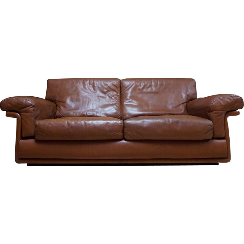 Vintage 2-seater sofa in brown leather by De Sede