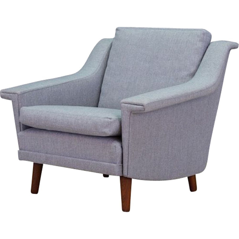 Vintage Scandinavian armchair in grey fabric