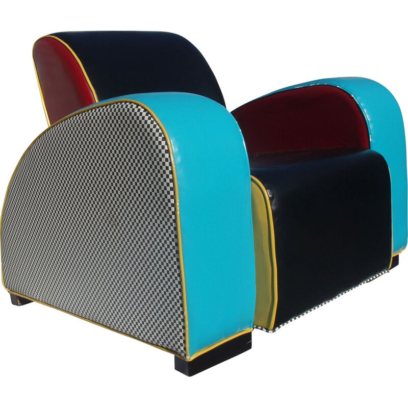 Vintage club chair in multicolored skai