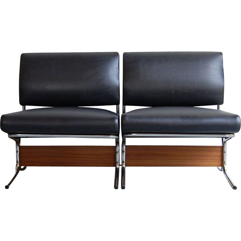 Vintage pair of black leatherette teak and low chairs