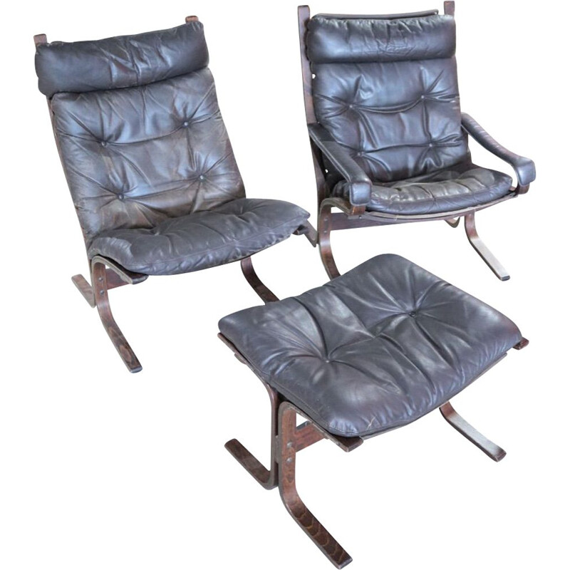 Pair of vintage Siesta armchairs and footrest by Ingmar Relling for Westnofa, 1960s