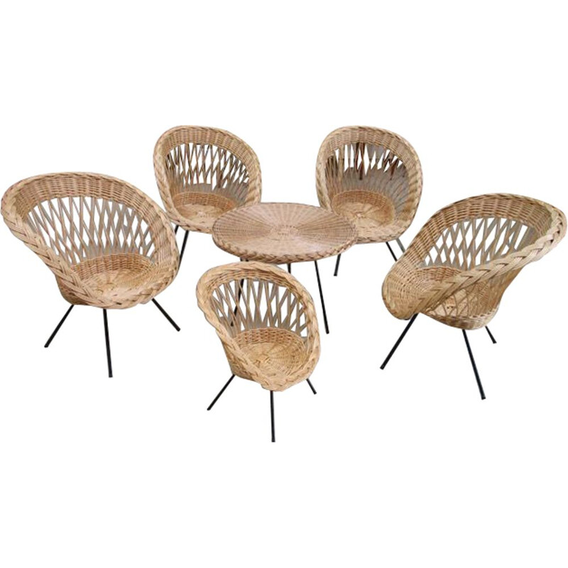 Vintage rattan living room set, black metal base, 1960