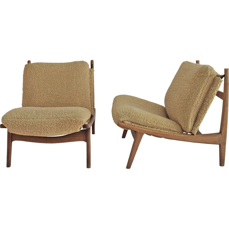 Pair of vintage 790 low chairs by Joseph-André Motte for Steiner, 1960