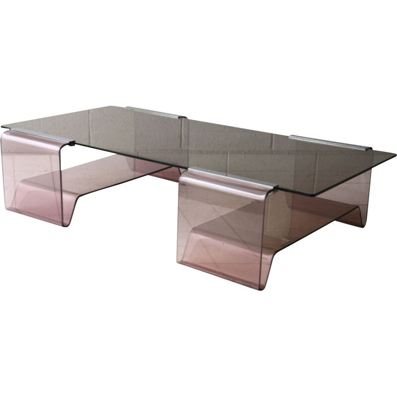 Vintage coffee table by Michel Dumas in Plexiglas , 1970s
