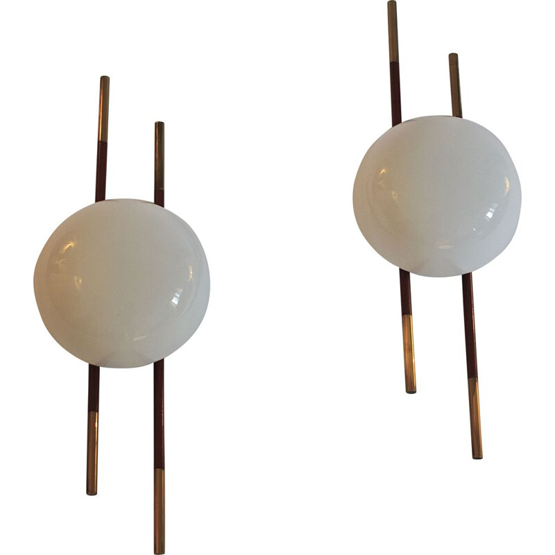 Vintage set of 2 wall lamps, Model Lunel, France 1950