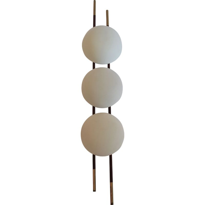 Vintage Wall lamp by Lunel with opalin glass globes, France 1950s