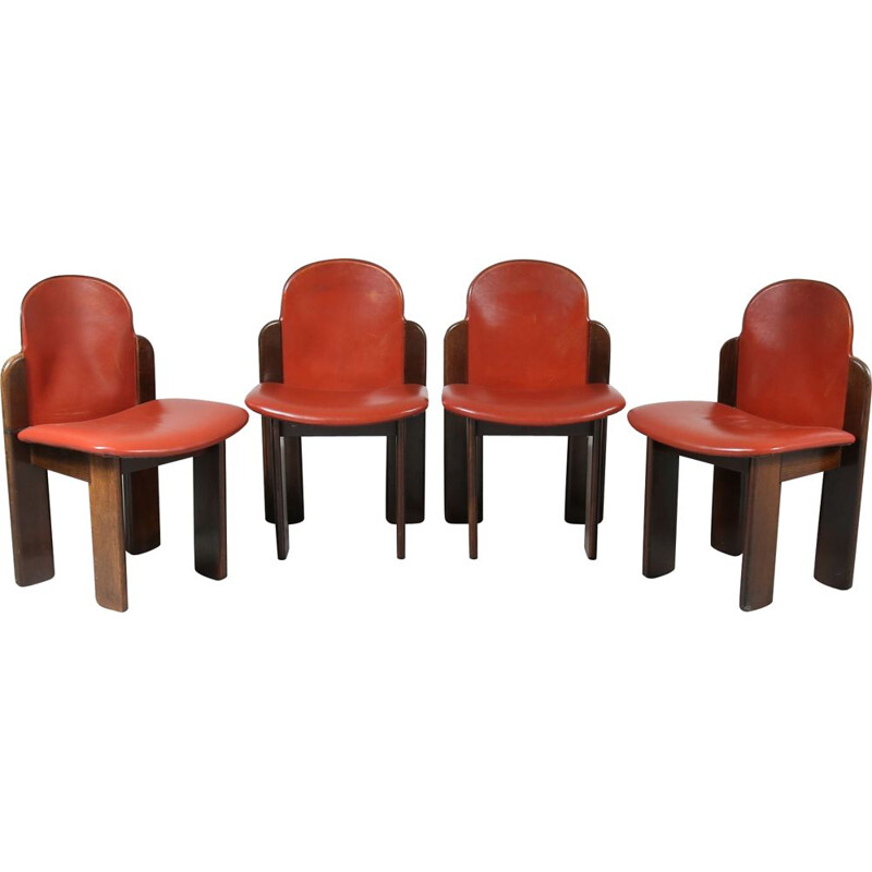 Vintage Set of 4 dining chairs in wood and red leather, Italy 1970s