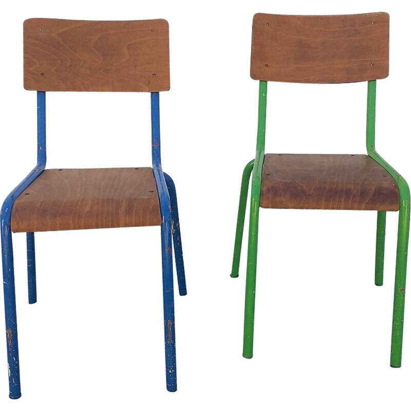 Vintage Pair of school chairs Model Mullca, 1950
