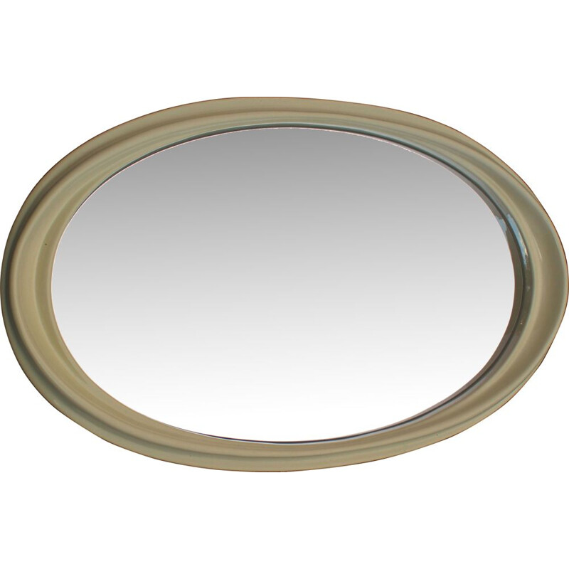 Vintage Large white oval mirror, 1970s