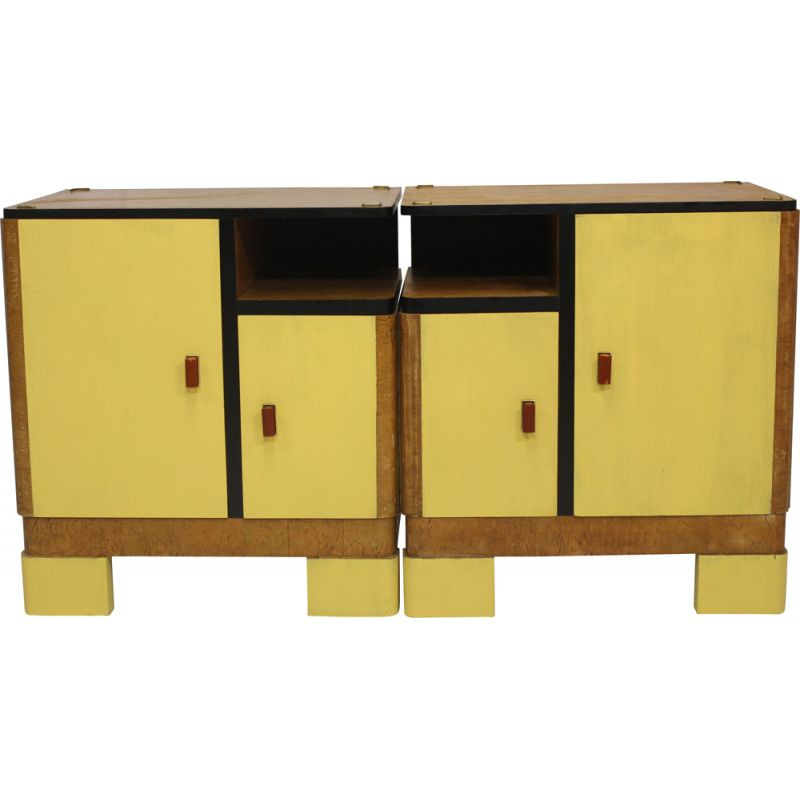 Vintage Pair of two night stands in two colors, 1950s