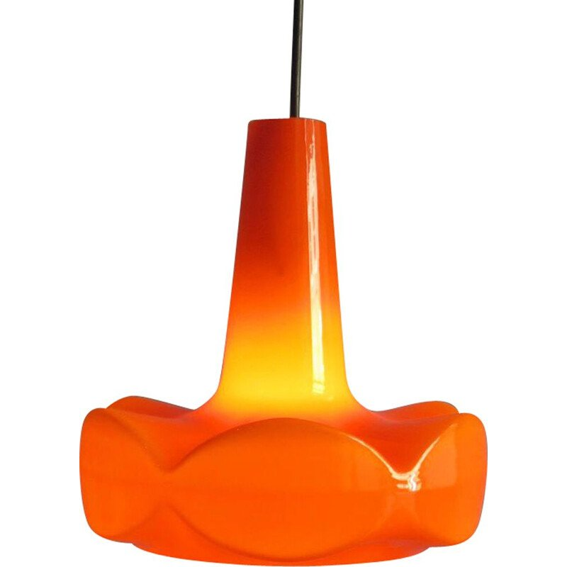 Vintage pendant light in orange opaline glass, 1960