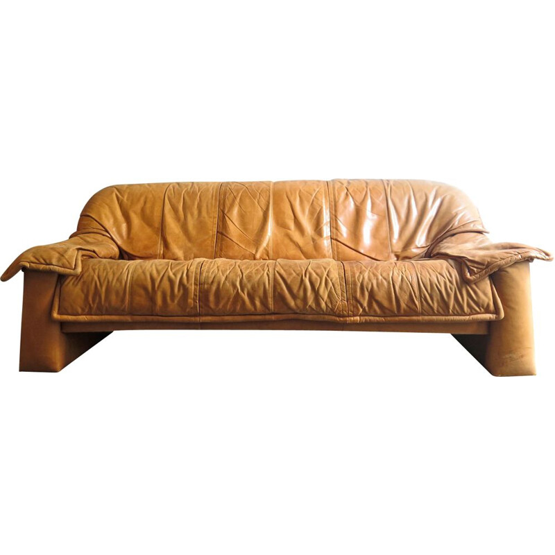 3-seater vintage beige leather sofa, 1970