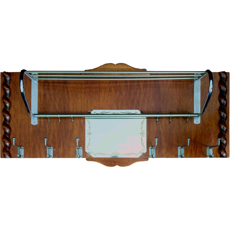 Vintage wall coat rack in wood and twisted patterns, with mirror, 1950