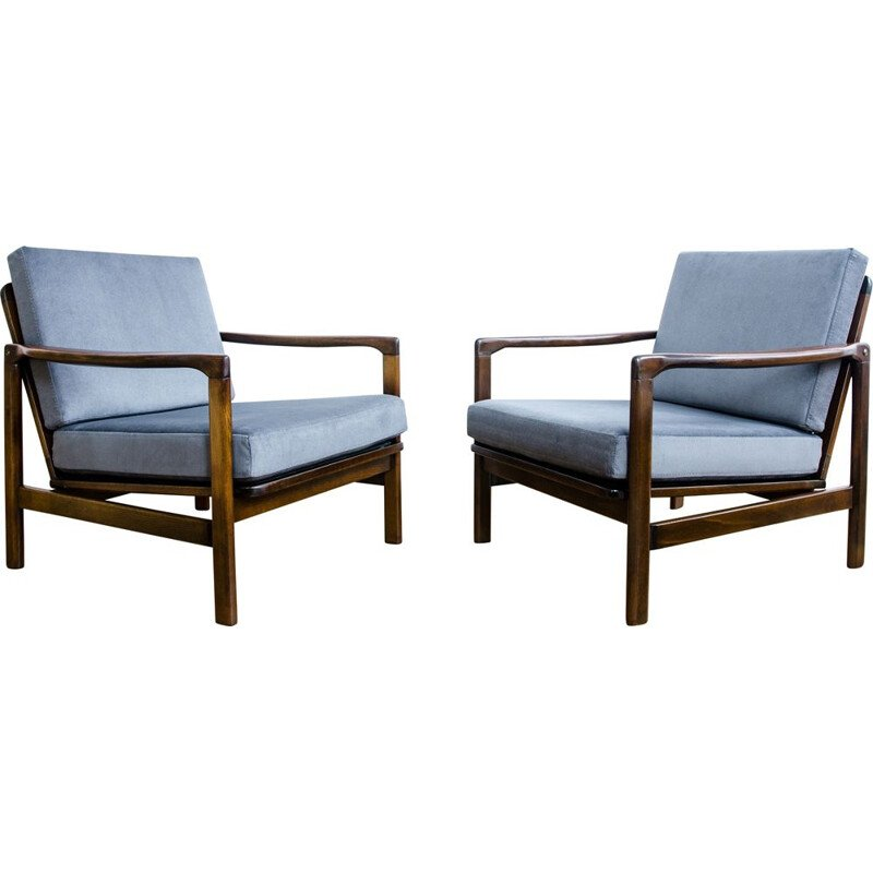 "Set of 2 vintage ""B-7752"" armchairs by Zenon Bączyk, 1960s"