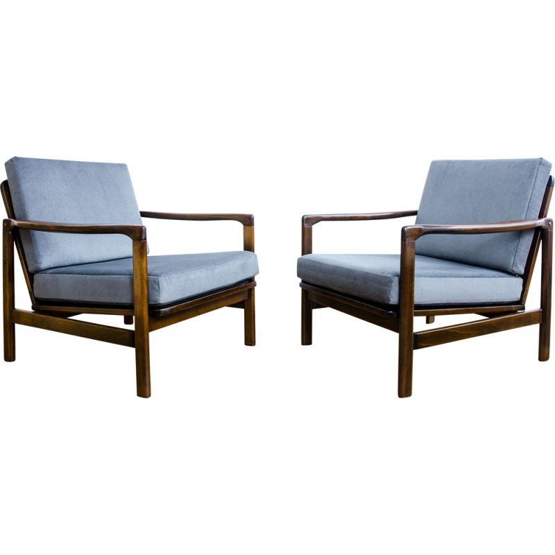 """Set of 2 vintage """"B-7752"""" armchairs by Zenon Bączyk, 1960s"""
