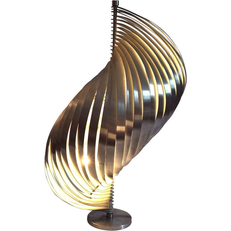 Vintage lampe by Henri Mathieu in brushed aluminium, 1960s