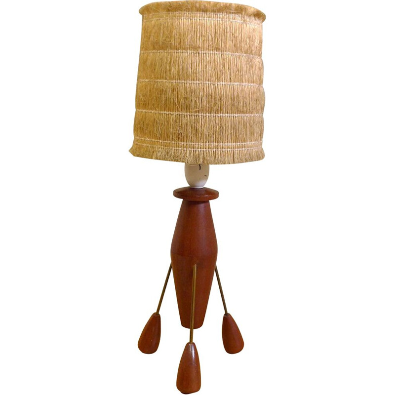 Vintage table lamp in teak and brass, 1960s