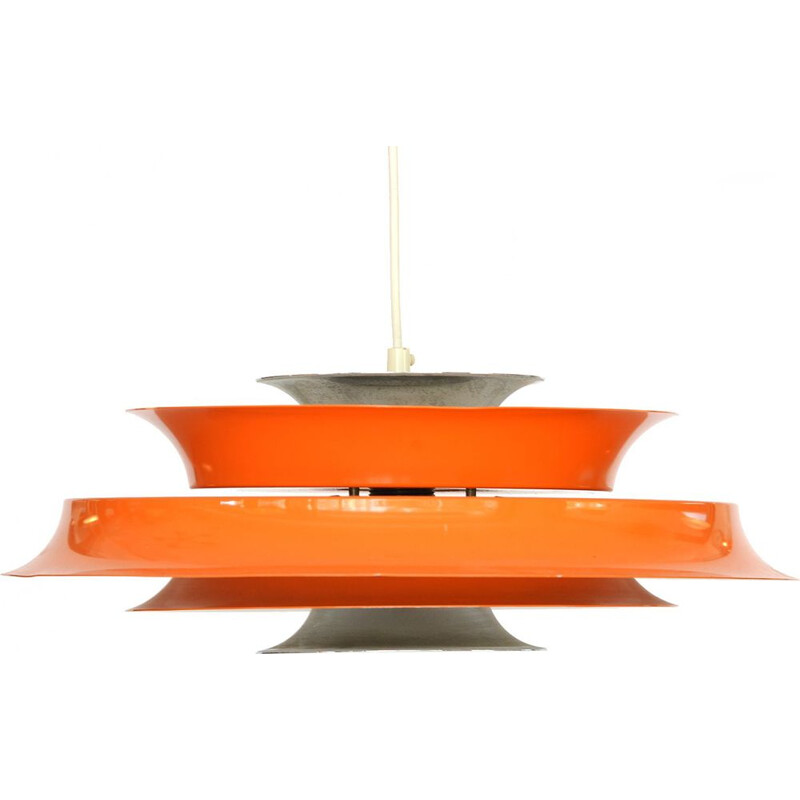 Vintage hanging lamp in orange lacquered aluminium, Denmark 1970s