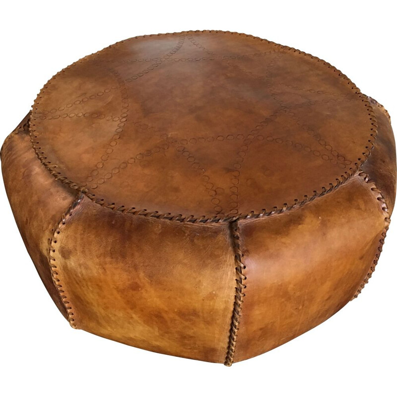 Vintage Brown leather Pouf, 1950