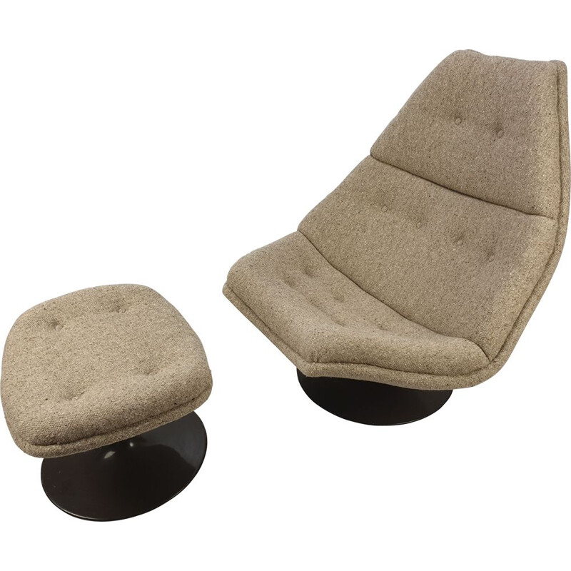 Vintage F510 Lounge Chair and Ottoman by Geoffrey Harcourt for Artifort, 1970s
