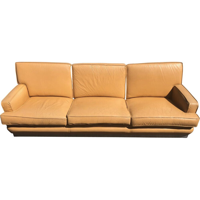 Vintage leather sofa by Jacques Charpentier for Roche Bobois, 1970 s
