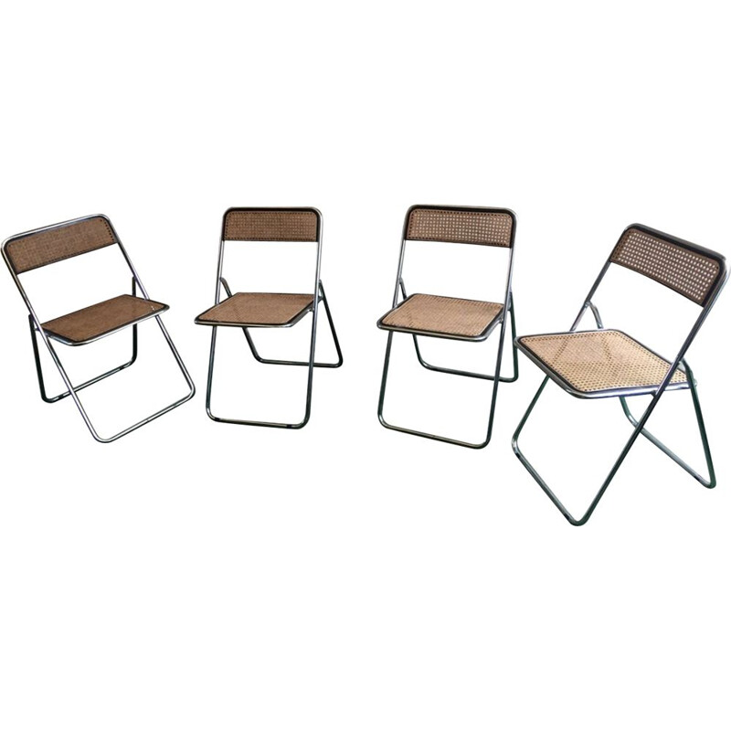 Set of 4 foldable vintage chairs cannage and chrome, 1970s