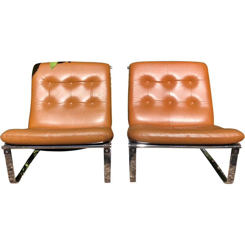 Vintage pair of armchairs by Ingmar Relling, model spring, 1960s