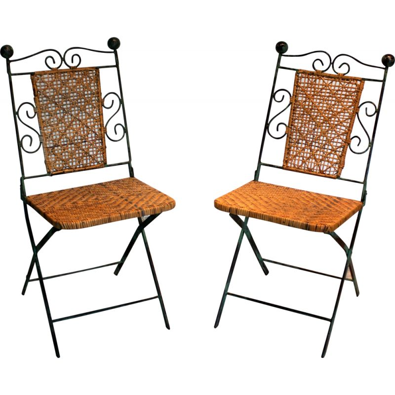 Pair of folding vintage chairs in wrought iron and rattan