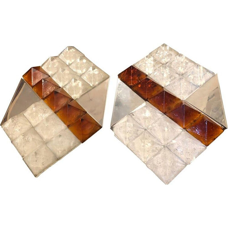 Set of 2 vintage white and brown Murano glass wall lamps, 1970s