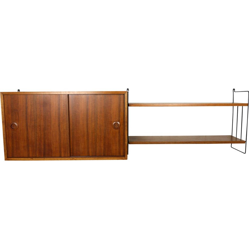 Vintage teak wall shelving unit from Musterring International, Germany, 1960s
