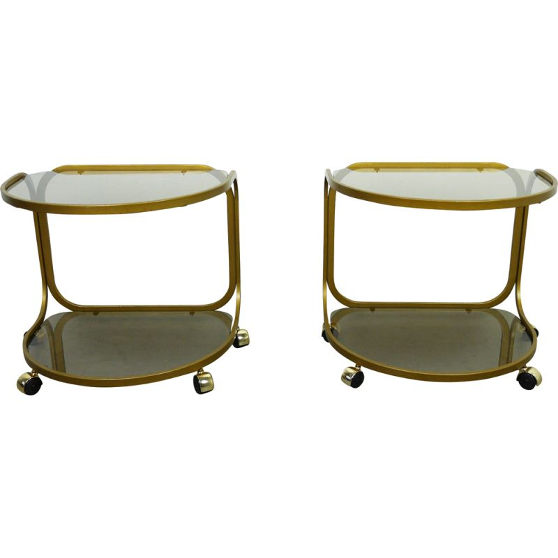 Set of 2 vintage metal side tables on wheels, Germany, 1970s